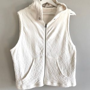 Eileen Fisher organic cotton ivory hooded vest S